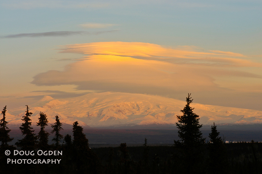 Lenticular clouds above Mount Wrangell, Wrangell Mountains, Alaska
