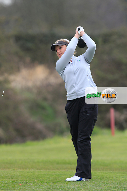 Chloe Goadby (SCO) on the 8th tee during Round 3 of The Irish Girls Open Strokeplay Championship in Roganstown Golf Club on Sunday 19th April 2015.<br /> Picture:  Thos Caffrey / www.golffile.ie