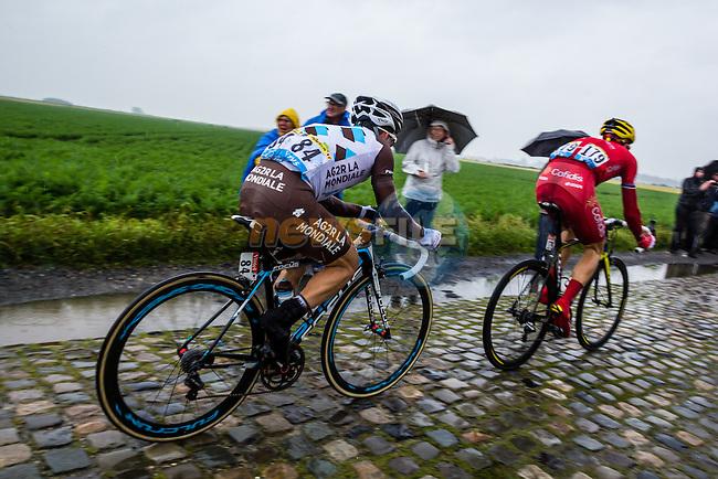 Samuel Dumoulin, AG2R, Rein Taaramae, Cofidis, Tour de France, Stage 5: Ypres > Arenberg Porte du Hainaut, UCI WorldTour, 2.UWT, Wallers, France, 9th July 2014, Photo by Thomas van Bracht / Peloton Photos