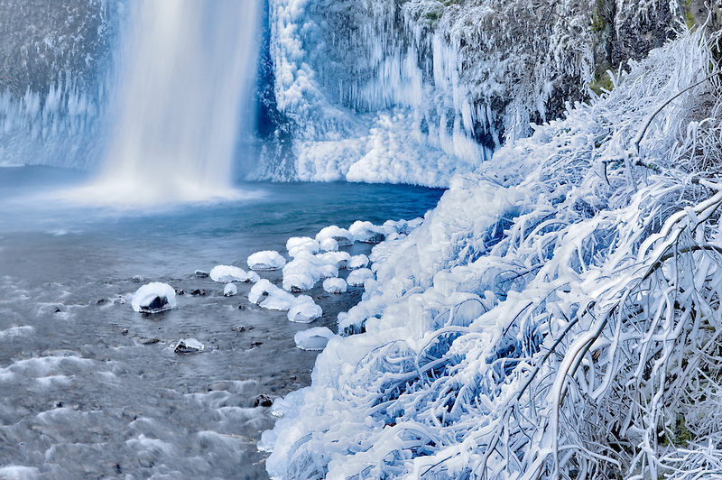 Lower Horsetail Falls with ice. Columbia River Gorge National Scenic Area. Oregon