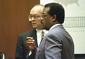 Lead defense attorney Johnnie L. Cochran, Jr. questions Chicago trademark lawyer Mark Partridge during the trial of former NFL star running back O.J. Simpson for the murder of his former wife, Nicole Brown Simpson and a friend of hers, restaurant waiter, Ron Goldman in Los Angeles County Superior Court in Los Angeles, California on July 13, 1995.<br /> Credit: Steve Grayson / Pool via CNP