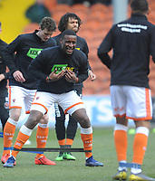Blackpool's Donervon Daniels during the pre-match warm-up <br /> <br /> Photographer Kevin Barnes/CameraSport<br /> <br /> The EFL Sky Bet League One - Blackpool v Peterborough United - Saturday 13th April 2019 - Bloomfield Road - Blackpool<br /> <br /> World Copyright &copy; 2019 CameraSport. All rights reserved. 43 Linden Ave. Countesthorpe. Leicester. England. LE8 5PG - Tel: +44 (0) 116 277 4147 - admin@camerasport.com - www.camerasport.com