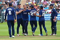 Jamie Porter of Essex is congratulated by his team mates after taking the wicket of Kieran Noema-Barnett during Gloucestershire vs Essex Eagles, NatWest T20 Blast Cricket at The Brightside Ground on 13th August 2017