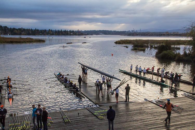 Rowing, Head of the Lake Regatta, November 5 2016, Conibear boathouse, Seattle, Washington State, organized by the Lake Washington Rowing Club and the University of Washington, Washington State, Pacific Northwest, USA,