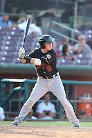 Zach Vincej #5 of the Bakersfield Blaze bats against the Inland Empire 66ers at San Manuel Stadium on August 21, 2014 in San Bernardino, California. Inland Empire defeated Bakersfield, 3-1. (Larry Goren/Four Seam Images)