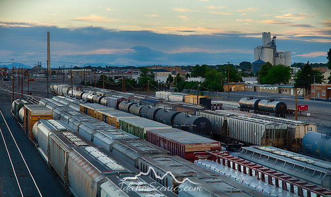 Idaho, South East, Pocatello. The railroad yards in the industrial area of Pocatello.