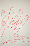 My husband and three year old son traced their hands together.