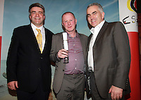 Repro Free.Eoghan CorryTravel Extra, Tom Sweeney blogger and Paul hackett Click and Go..Paul Hackett winner of the Online Media Journalist of the Year Award sponsoredby Click and Go.Travel Extra,Travel Journalist of the Year Awards at the Thomas Prior House Ballsbridge. The event which was sponsored by The Spanish Tourist board gave out 12 awards for different catagories. .This year saw a huge increase in the number of submissions from previous years, displaying the creativity and continuning innovation of travel and tourism journalism in Ireland..Collins Photos 25/1/13