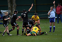 Toka Natua scores for the Black Ferns during the 2017 International Women's Rugby Series rugby match between the NZ Black Ferns and Australia Wallaroos at Rugby Park in Christchurch, New Zealand on Tuesday, 13 June 2017. Photo: Dave Lintott / lintottphoto.co.nz