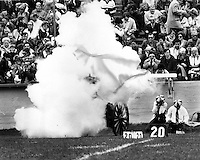 University of California Bears score and the sideline cannon blasts. (1970 photo/Ron Riesterer)
