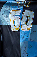 The Signed Shirt presented to Bill Turnbull during the Sky Bet League 2 match between Wycombe Wanderers and Exeter City at Adams Park, High Wycombe, England on 13 February 2016. Photo by Massimo Martino.
