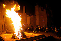 Bonfire night at a Scottish Castle on the site of Treaty Port Vineyards which is run by British milllionaire Chris Ruffle in Penglai, Shandong province. 06-Nov-2010