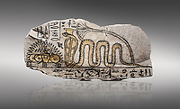 Ancient Egyptian ostracon dedicated by Amenkhau to Mereteseger, limestone, New Kingdom, 20th Dynasty, (1187-1150 BC), Deir el-Medina, ODrovetti cat 1564. Egyptian Museum, Turin. Grey background