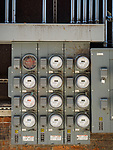 A cluster of electric meters, historic copper mining city of Butte, Montana