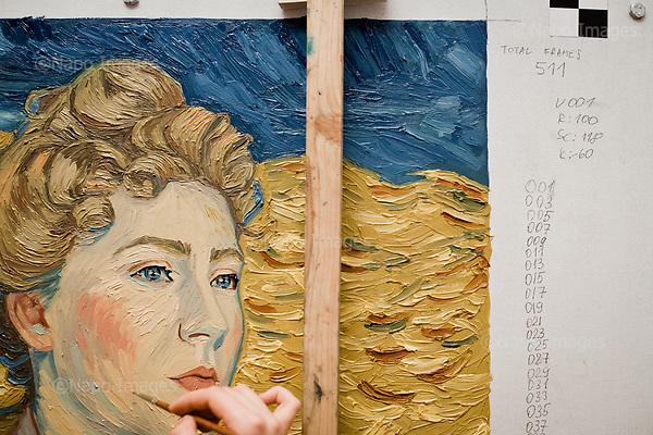 GDANSK, 30/05/2016:<br /> Painter Julia Reshetnik is painting in her box at the production venue of &quot;Loving Vincent,&quot; an animated film being made in Poland about Vincent Van Gogh that's using oil-painted cels. At the moment she is painting cel featuring actress Aoirse Ronan.<br /> (Photo by Piotr Malecki / Napo Images)<br /> <br />  <br /> ####<br /> GDANSK, 30/05/2016:<br /> Produkcja filmu &quot;Twoj Vincent&quot; - pierwszego w historii filmu animowanego skladajacego sie w calosci z klatek osobno malowanych na plotnie przez dziesiatki zatrudnionych w tym celu malarzy z calego swiata.<br /> (Fot: Piotr Malecki dla NYT / Napo Images /  Napo Images) <br /> <br /> <br /> ### Zakaz publikacji w negatywnym kontekscie. Cena minimalna: 100 PLN ### Zakaz publikacji w Gazecie Polskiej ###