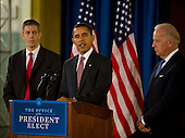 Chicago, Il - December 16, 2008 -- United States President-elect Barack Obama, center, announces the nomination of Chicago School Chief Arne Duncan, left, to be his Secretary of Education at a news conference at Dodge Renaissance Academy on Chicago's West Side on Tuesday, December 16, 2008.  Vice President-elect Joseph Biden listens from the right..Credit: Ralf-Finn Hestoft - Pool via CNP