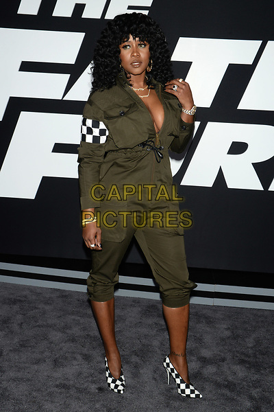 NEW YORK, NY - APR 08: Remy Ma attends the Premiere of &quot;The Fate of the Furious&quot; at Radio City Music Hall on April 8, 2017 in NEW YORK CITY.<br /> CAP/LNC/TOM<br /> &copy;TOM/LNC/Capital Pictures