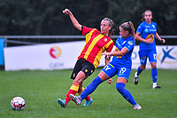 20200819, Sint-Amandsberg , GENT , BELGIUM : Lens's midfielder Marie Schepers (8) and Gent's midfielder Imani Prez (19) pictured during a friendly soccer game between KAA Gent ladies and RC Lens ladies in the preparations for the coming season 2020 - 2021 of Belgian Women's SuperLeague and French second division , Wednesday 19 th of August 2020 in JAGO Sint-Amandsberg / Gent, Belgium . PHOTO SPORTPIX.BE | STIJN AUDOOREN