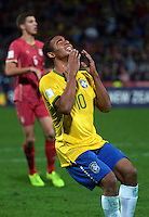 Brazil's Gabriel Jesus reacts to a missed chance during the FIFA Under-20 Football World Cup Final between Brazil (gold) and Serbia at North Harbour Stadium, Albany, New Zealand on Saturday, 20 June 2015. Photo: Dave Lintott / lintottphoto.co.nz
