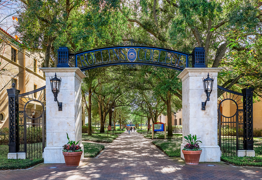 Entrance gate to Rollins College  campus, Winter Park, Florida, USA.