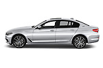Car driver side profile view of a 2018 BMW 5 Series Plug-In Hybrid 530e Sport 4 Door Sedan
