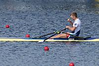 Sarasota. Florida USA.  CZE M1X, Ondrej SYNEK approaches the finish line. Semi Final A/B. 2017 World Rowing Championships, Nathan Benderson Park<br /> <br /> Friday  29.09.17   <br /> <br /> [Mandatory Credit. Peter SPURRIER/Intersport Images].<br /> <br /> <br /> NIKON CORPORATION -  NIKON D500  lens  VR 500mm f/4G IF-ED mm. 200 ISO 1/800/sec. f 8