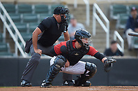 Kannapolis Intimidators catcher Gunnar Troutwine (37) sets a target as home plate umpire Thomas O'Neil looks on during the game against the Hagerstown Suns at Kannapolis Intimidators Stadium on August 27, 2019 in Kannapolis, North Carolina. The Intimidators defeated the Suns 5-4. (Brian Westerholt/Four Seam Images)