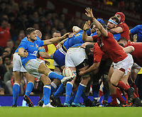 Italy&rsquo;s Marcello Violi tries to clear the ball but is charged down by Wales Elliot Dee<br /> <br /> Photographer Ian Cook/CameraSport<br /> <br /> 2018 NatWest Six Nations Championship - Wales v Italy - Sunday 11th March 2018 - Principality Stadium - Cardiff<br /> <br /> World Copyright &copy; 2018 CameraSport. All rights reserved. 43 Linden Ave. Countesthorpe. Leicester. England. LE8 5PG - Tel: +44 (0) 116 277 4147 - admin@camerasport.com - www.camerasport.com