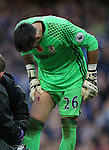 Victor Valdes of Middlesbrough checks out the hole in his thigh during the Premier League match at the Etihad Stadium, Manchester. Picture date: November 5th, 2016. Pic Simon Bellis/Sportimage