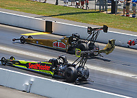 Jun 18, 2017; Bristol, TN, USA; NHRA top fuel driver Leah Pritchett (far) alongside Troy Coughlin Jr during the Thunder Valley Nationals at Bristol Dragway. Mandatory Credit: Mark J. Rebilas-USA TODAY Sports
