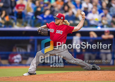 1 April 2016: Boston Red Sox pitcher Robbie Ross Jr. on the mound during a pre-season exhibition series between the Toronto Blue Jays and the Boston Red Sox at Olympic Stadium in Montreal, Quebec, Canada. The Red Sox defeated the Blue Jays 4-2 in the first of two MLB weekend games, which saw an attendance of 52,682 at the former home on the Montreal Expos. Mandatory Credit: Ed Wolfstein Photo *** RAW (NEF) Image File Available ***