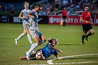 Kansas City, MO - Saturday July 22, 2017: Abby Erceg, Katie Bowen during a regular season National Women's Soccer League (NWSL) match between FC Kansas City and the North Carolina Courage at Children's Mercy Victory Field.