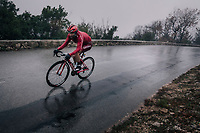 Tiago Machado (POR/Katusha-Alpecin) plowing through the torrential rain<br /> <br /> 76th Paris-Nice 2018<br /> Stage 8: Nice > Nice (110km)