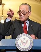 United States Senate Minority Leader Chuck Schumer (Democrat of New York) speaks to reporters outside the US Senate Chamber following the Democrats' weekly luncheon caucus in the US Capitol in Washington, DC on Tuesday, September 19, 2017.  The Democratic leadership is advocating against the passage of the Graham-Cassidy Act that would replace parts of the Affordable Care Act (also known as ObamaCare) with block grants for the individual states.  <br /> Credit: Ron Sachs / CNP