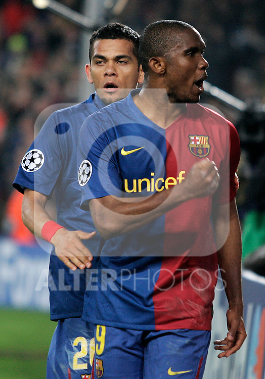 FC Barcelona's Samuel Eto'o celebrates goal during the UEFA Champiosn League match.March 11 2009. (ALTERPHOTOS/Acero).