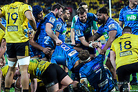 The Blues congratulate Akira Ioane on his try during the Super Rugby match between the Hurricanes and Blues at Westpac Stadium in Wellington, New Zealand on Saturday, 7 July 2018. Photo: Dave Lintott / lintottphoto.co.nz