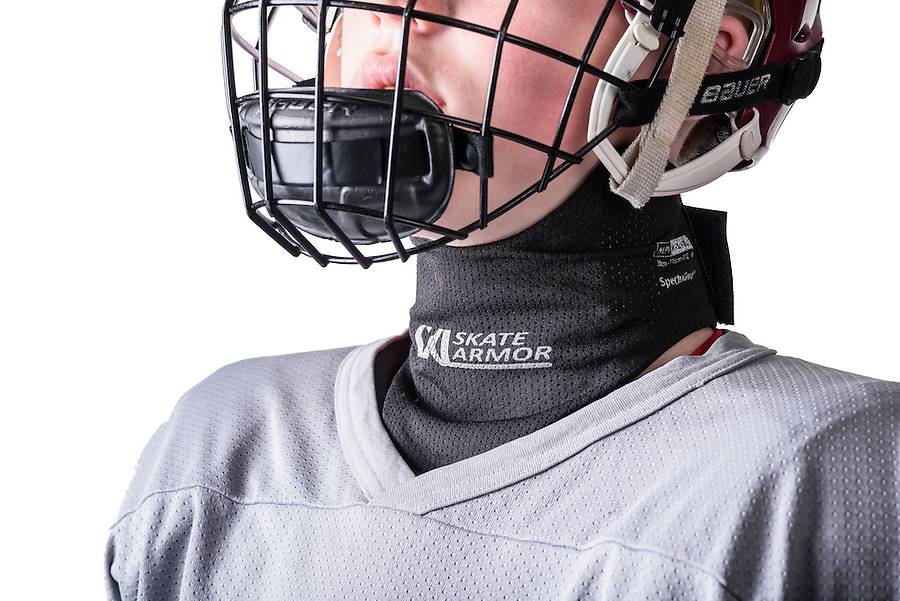 Skate Armor, a cut-resistant neck wrap intended to cover and protect the human body's vital neck arteries from potential abrasions and cuts from the blades of hockey skates, is pictured in a studio product photo on Oct. 24, 2016. (Photo by Jeff Miller, www.jeffmillerphotography.com)