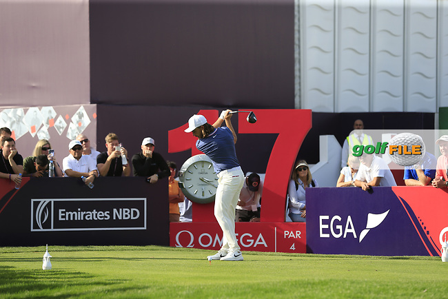 Tommy Fleetwood (ENG) on the 17th tee during Round 4 of the Omega Dubai Desert Classic, Emirates Golf Club, Dubai,  United Arab Emirates. 27/01/2019<br /> Picture: Golffile | Thos Caffrey<br /> <br /> <br /> All photo usage must carry mandatory copyright credit (© Golffile | Thos Caffrey)