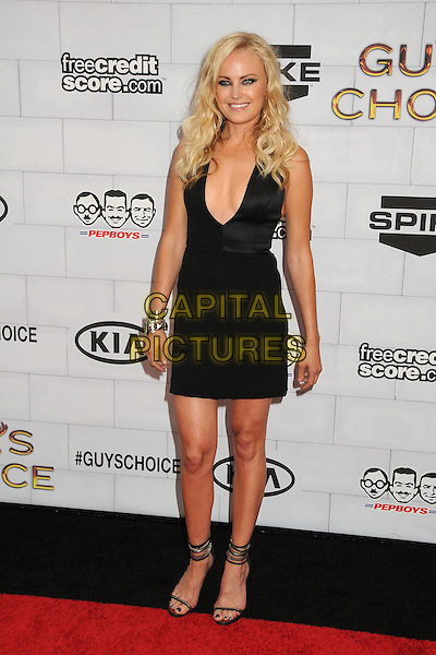 "Malin Akerman.Spike TV's 6th Annual ""Guys Choice"" Awards held at Sony Pictures Studios, Culver City, California, USA, .2nd June 2012..full length  black dress smiling  mini ankle strap sandals open toe shoes heels low cut .CAP/ADM/BP.©Byron Purvis/AdMedia/Capital Pictures."