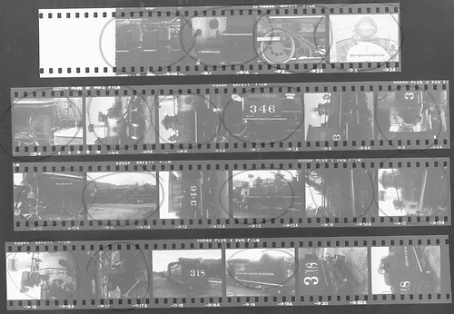 Contact print of 22-picture roll of Kodak PlusX.  18 are of D&amp;RGW #346 and 4 are of D&amp;RGW #318 tender.  Some are circled in red ink.<br /> D&amp;RGW