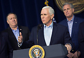 United States Vice President Mike Pence speaks at Camp David, the presidential retreat near Thurmont, Maryland, after participating in meetings with US President Donald J. Trump, members of his Cabinet and Republican members of Congress to discuss the Republican legislative agenda for 2018 on January 6, 2018.  Mike Pompeo, Director, Central Intelligence Agency (CIA);  Vice President Pence; US House Majority Leader Kevin McCarthy (Republican of California).<br /> Credit: Chris Kleponis / Pool via CNP