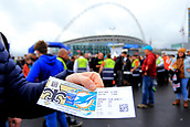 1st October 2017, Wembley Stadium, London, England; NFL International Series, Game Two; Miami Dolphins versus New Orleans Saints; A fan shows off his Miami Dolphins versus New Orleans Saints ticket
