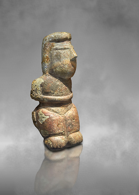 Middle Neolithic quartzose sandstone statue of a goddess from the archaeological site of Cott'e Baccas in Segarlu, Sardinia,. Museo archeologico nazionale, Cagliari, Italy. (National Archaeological Museum) - Art Grey Background