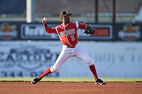 Batavia Muckdogs shorstop Anfernee Seymour (3) throws to first during a game against the Williamsport Crosscutters on July 15, 2015 at Dwyer Stadium in Batavia, New York.  Williamsport defeated Batavia 6-5.  (Mike Janes/Four Seam Images)