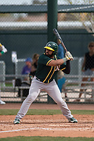 Oakland Athletics outfielder Logan Farrar (7) at bat during a Minor League Spring Training game against the Chicago Cubs at Sloan Park on March 13, 2018 in Mesa, Arizona. (Zachary Lucy/Four Seam Images)