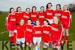 The Iveragh United side wo traveled to Listowel on Saturday for the U14's Kerry Cup Semi-Final, pictured here front l-r; Cliodhna Guiney, Rebecca Coyle, Caoimhe O'Shea, Ciara Devlin, Sarah Landers, back l-r; Charlotte Hulme, Aoibhinne Fitzgerald, Mairead Murphy, Mary Beth O'Donoghue, Rachel O'Connor, Abbie O'Sullivan, Lydia Clem-O'Sullivan & Sadbh O'Shea.