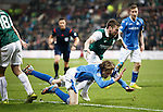 Hibs v St Johnstone...30.01.16   Utilita Scottish League Cup Semi-Final, Tynecastle..<br /> Murray Davidson is sent flying by John McGinn<br /> Picture by Graeme Hart.<br /> Copyright Perthshire Picture Agency<br /> Tel: 01738 623350  Mobile: 07990 594431