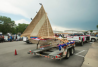 NWA Democrat-Gazette/BEN GOFF @NWABENGOFF<br /> The KorKor (Marshallese canoe) built recently at the Shiloh Museum rides in the opening parade Friday, May 25, 2018, during the opening ceremony for the 39th annual Republic of the Marshall Islands Jemenei (Constitution) Day celebration at the Jones Center in Springdale. The celebration continues Saturday with basketball, baseball and other sporting events.