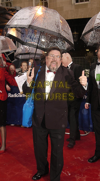 RICKY TOMLINSON.The British Academy Televison Awards at the Grosvenor House Hotel, Park Lane, London.full length, full-length, baftas, umbrella.www.capitalpictures.com.sales@capitalpictures.com.©Capital Pictures