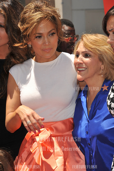 Actress/singer Jennifer Lopez &amp; mother on Hollywood Blvd where she was honored with the 2,500th star on the Hollywood Walk of Fame.<br /> June 20, 2013 Los Angeles, CA<br /> Picture: Paul Smith / Featureflash